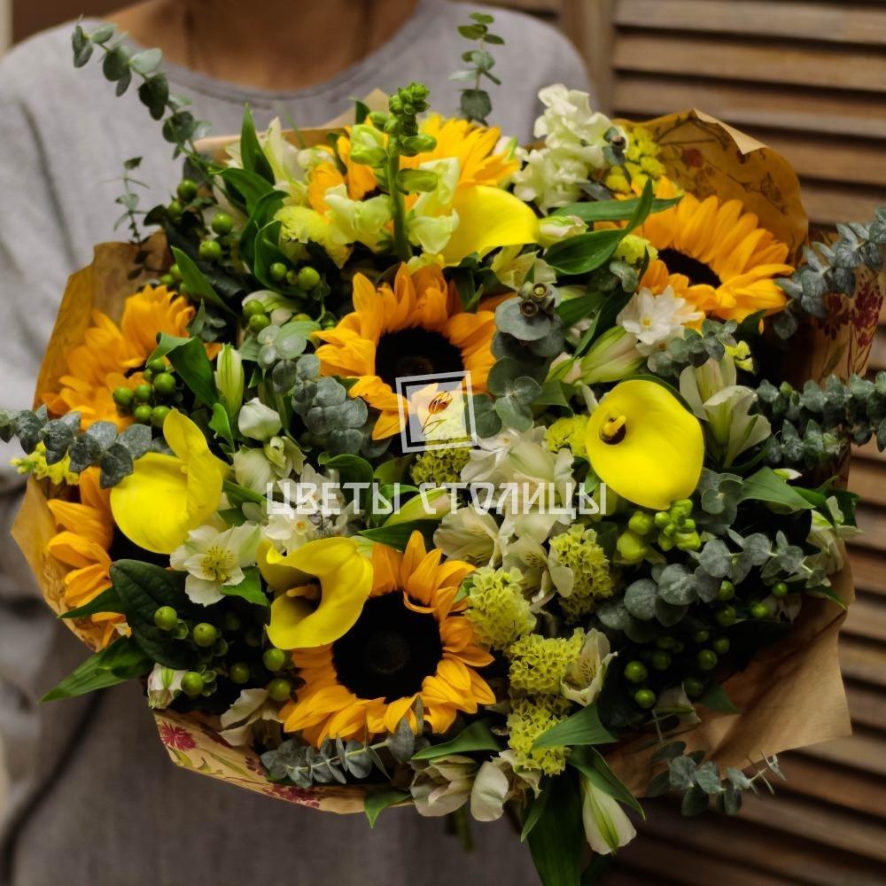 Букеты статица подсолнухов, большой букет цветов картинка